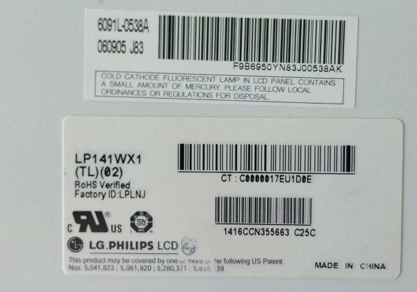 LG PHİLİPS LP141WX1 (TL) (02) 6091L-0538A 060905 J83 ETİKET