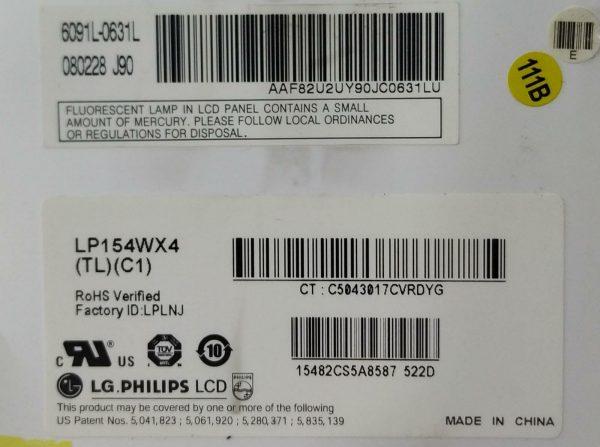 LG PHİLİPS LP154WX4 TL C1 6091L-0631L 080228 J90 ETİKET