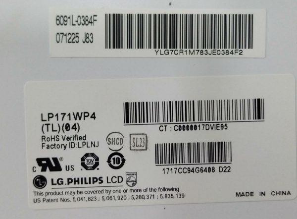 LG PHİLİPS LP171WP4 TL 04 6091L-0384F 071225 J83 ETİKET
