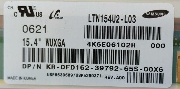 SAMSUNG LTN154U2-L03 4K6E06102H 000 KR-0FD162-39792-65D-00X6 ETİKET